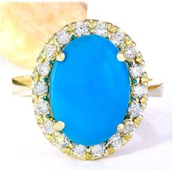 6.34 CTW Natural Turquoise 18K Solid Yellow Gold Diamond Ring