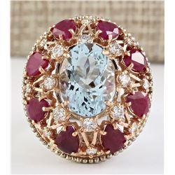 14.145 CTW Natural Aquamarine Ruby Diamond Ring In 18K Multi-tone Gold