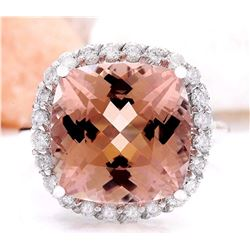 9.86 CTW Natural Morganite 18K Solid White Gold Diamond Ring