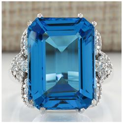 20.40 CTW Natural Blue Topaz And Diamond Ring In 18K White Gold
