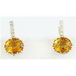 3.46 CTW Citrine 18K Yellow Gold Diamond Earrings