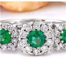 1.70 CTW Natural Emerald 18K Solid White Gold Diamond Ring