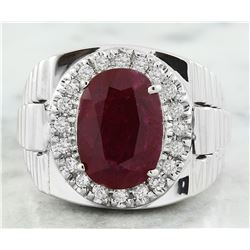 7.70 CTW Ruby 18K White Gold Diamond Ring