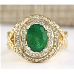 3.63 CTW Natural Emerald And Diamond Ring In 14k Yellow Gold
