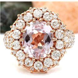 5.86 CTW Natural Kunzite 18K Solid Rose Gold Diamond Ring
