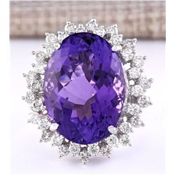 27.50 CTW Natural Amethyst And Diamond Ring In 18K White Gold