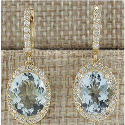 8.93 CTW Natural Aquamarine And Diamond Earrings 18K Solid Yellow Gold