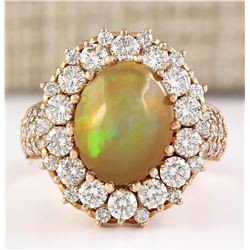 5.19 CTW Natural Opal And Diamond Ring In18K Rose Gold