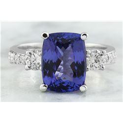 5.40 CTW Tanzanite 14K White Gold Diamond Ring