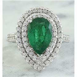 3.50 CTW Emerald 18K White Gold Diamond Ring