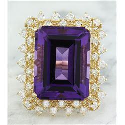 11.95 CTW Amethyst 14K Yellow Gold Diamond Ring