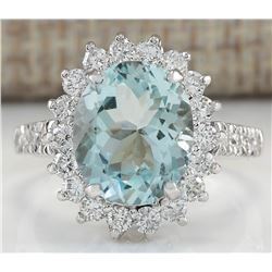 4.46 CTW Natural Blue Aquamarine And Diamond Ring 18K Solid White Gold