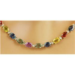 41.30 CTW Ceylon Sapphire 14K Yellow Gold Diamond Necklace