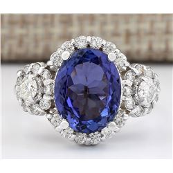 4.80 CTW Natural Blue Tanzanite And Diamond Ring 18K Solid White Gold