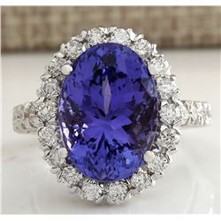 10.66 CTW Natural Blue Tanzanite And Diamond Ring In 18K White Gold