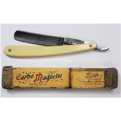 Antique Carbo Magnetic Griffon Straight Razor W/Bo