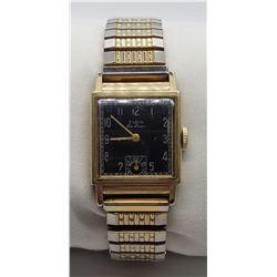 Vintage Mechanical Elgin DeLuxe Wristwatch - Black