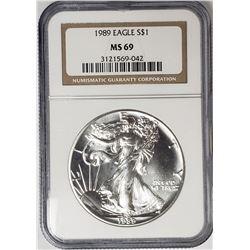 1989 American Silver Eagel NGC MS69