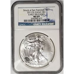 2011 S American Silver Eagle NGC MS69 Early
