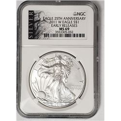 2011 W American Silver Eagle 25th Anniv. NGC MS69
