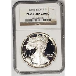 1986 S American Silver Eagle PF68 Ultra Cameo NGC