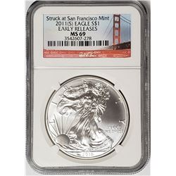 2011 S American Silver Eagel NGC MS69 Early