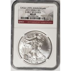 2011 Silver Eagle Early Releases NGC MS69