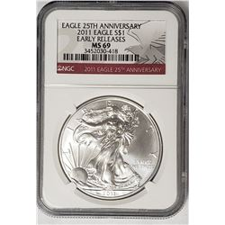 2011 American Silver Eagle 25th Anniv. NGC MS69