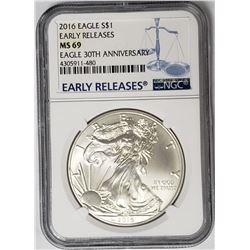 2016 American Silver Eagle 30th Anniv. NGC MS69