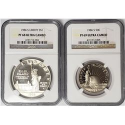 1986 S Liberty 2 Coin Set $1 PF68 & 50c PF69 - NGC