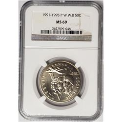 1991-1995 P World War II 50c NGC MS69