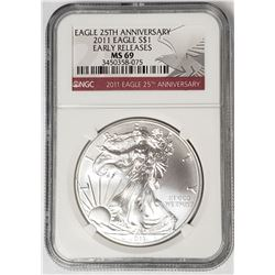 2011 Silver Eagle 25th Anniv. Early Releases NGC