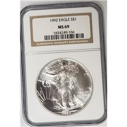 1992 American Silver Eagle NGC MS69