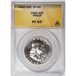 1962 50c Franklin Silver Proof ANACS PF65