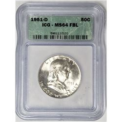 1951 D Franklin Silver Half Dollar ICG MS64 FBL