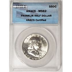 1963 D Franklin Half Dollar ANAC MS62