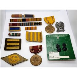 WWII US Army Lot - Medals, Ribbons, Pins