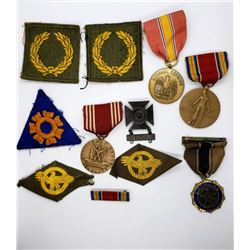 WWII Medal & Patch Lot Victory National Defense St