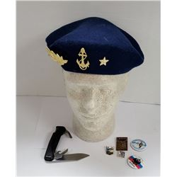 Vintage Russian Beret with Some Military Pins & Bu