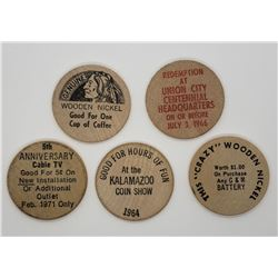 5-WOODEN NICKELS - ALL DIFFERENT - SEE DESCRIPTION