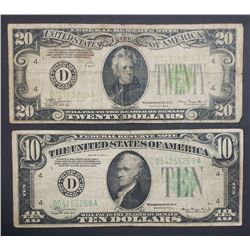 1934s FEDERAL RESERVE NOTES $20 & $10