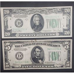 1934s FEDERAL RESERVE NOTES $20 & $5