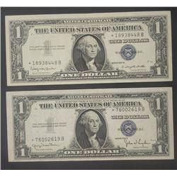2-AU/CU STAR NOTE $1 SILVER CERTIFICATES
