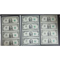 3-UNCUT SHEETS: 1981 $1 FRN; 1985 $1 RFN;