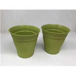 "Contempra Bamboo Green 6"" Planter Lot of 2"