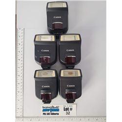 Lot of 5 Canon Speedlite 220EX Camera Flashes