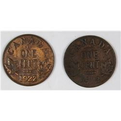 (2) 1922 CANADA CENTS