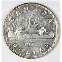 1947 POINTED 7 CANADA SILVER DOLLAR