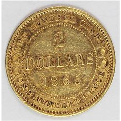 1865 $2.00 NEWFOUNDLAND GOLD