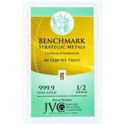 .9999 Fine Gold 1/2 Grain Collector Bar.